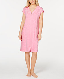 Miss Elaine Flower-Embossed Micro-Terry Zip-Up Robe