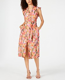 Maison Jules Flutter-Sleeve Belted Dress, Created for Macy's