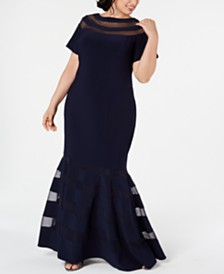 XSCAPE Plus Size Illusion-Panel Gown