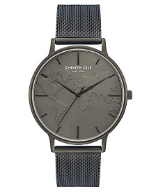 """Kenneth Cole New York Men's Mesh Bracelet, Dial and """"World"""" Etch On Dial, 42MM"""