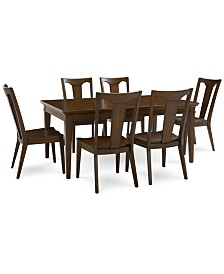 Matteo Dining Furniture, 7-Pc. Set (Table & 6 Slat Back Wood Side Chairs), Created for Macy's