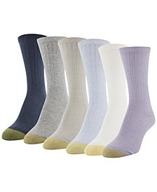 Gold Toe Women's 6-Pack Ribbed Crew Socks