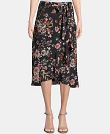 ECI Printed Ruffled High-Low Wrap Skirt