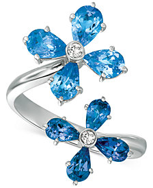 Blue Topaz (3 ct. t.w.) & Diamond Accent Floral Wrap Ring in 14k Gold
