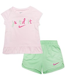 Nike Baby Girls 2-Pc. Logo-Print Peplum Top & Shorts Set