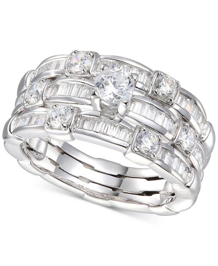 Macy's - Cubic Zirconia Triple Row Band Ring in Sterling Silver