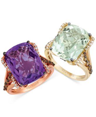 Grape Amethyst (9-3/4 ct. t.w.) & Diamond (5/8 ct. t.w.) Ring in 14k Rose Gold