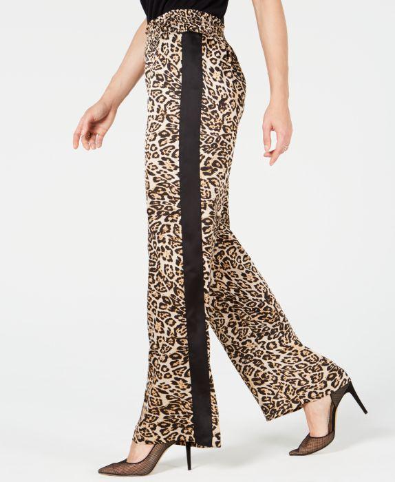 INC Leopard Print Smocked-Waist Wide-Leg Pants , Black, Size: M