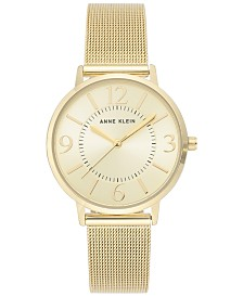Anne Klein Women's Gold-Tone Stainless Steel Mesh Bracelet Watch 34mm