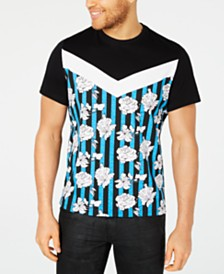 I.N.C. Men's Colorblocked Floral Graphic T-Shirt, Created for Macy's