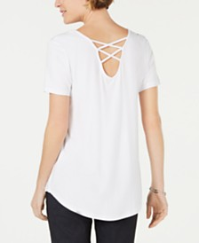 JM Collection Lattice-Back V-Neck Top, Created for Macy's