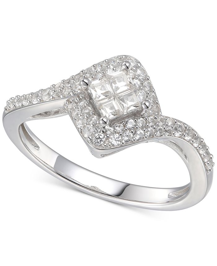 Macy's - Cubic Zirconia Square Halo Ring in Sterling Silver