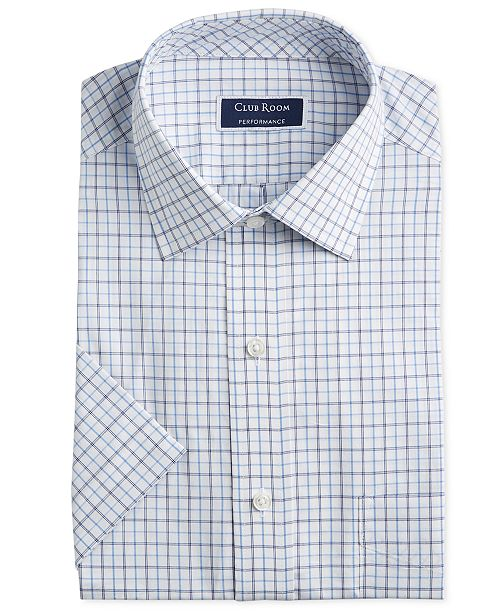 Club Room Men's Classic/Regular Fit Outline Tattersall Short Sleeve Dress Shirt, Created for Macy's