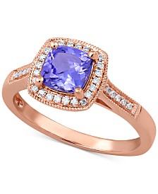 Tanzanite (1 ct. t.w.) & Diamond (1/8 ct. t.w.) Statement Ring in 14k Rose Gold