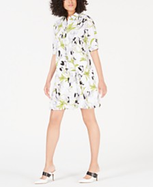 Alfani Floral-Print Bungee Shirtdress, Created for Macy's