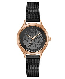 Ladies Black Mesh Bracelet Watch with Affirmation Dial