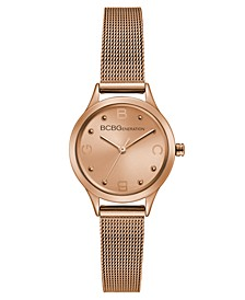 Ladies Rose Gold Mesh Bracelet Watch with Rose Gold Case