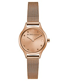 BCBGeneration Ladies Rose Gold Mesh Bracelet Watch with Rose Gold Case