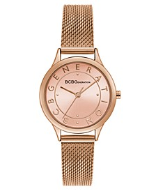 Ladies Rose Gold Mesh Bracelet Watch with Rose Gold Dial
