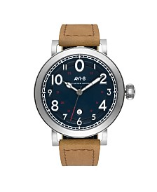 AVI-8 Men's Japanese Quartz Lancaster Bomber, Blue Dial, Brown Leather Strap Watch 43mm