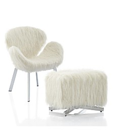 CosmoLiving by Cosmopolitan Estelle Accent Chair and Ottoman with Faux Fur and Chrome Legs