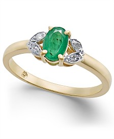 Emerald (1/2 ct. t.w.) & Diamond Accent Ring in 14k Gold