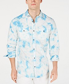 INC Men's Tie Dye Denim Shirt, Created for Macy's