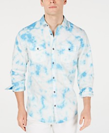 I.N.C. Men's Tie Dye Denim Shirt, Created for Macy's