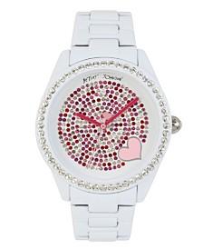 Betsey Johnson Mixed Stone Accented Dial & White Bracelet Watch