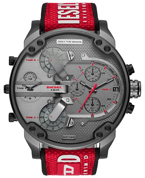 Diesel LIMITED EDITION  Men's Chronograph Mr. Daddy 2.0 Red Nylon Strap Watch 57mm, Created for Macy's