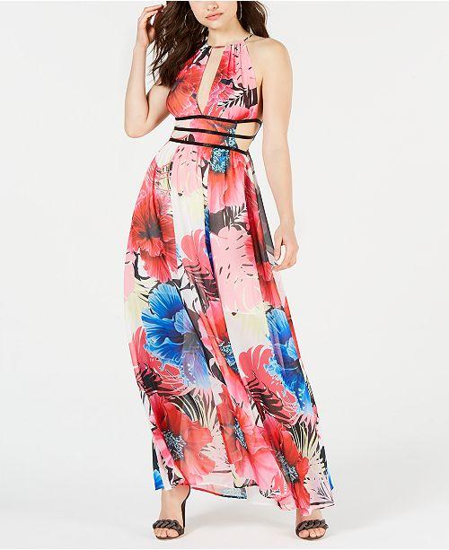 c67776ad55e GUESS Vivienne Printed Cutout Maxi Dress   Reviews - Dresses ...