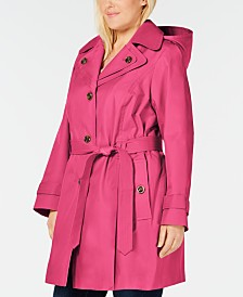 London Fog Plus Size Hooded Water Resistant Trench Coat