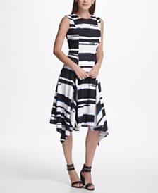 DKNY Printed Handkerchief Hem Dress