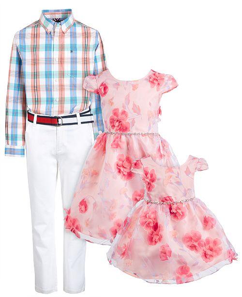 Rare Editions & Tommy Hilfiger Siblings Plaid Shirt, Pant & Dress Separates