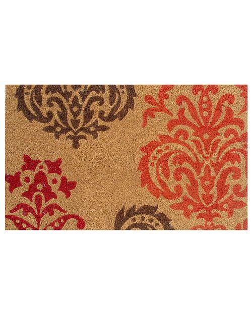 """Home & More Orange Baroque 17"""" x 29"""" Coir/Vinyl Doormat"""