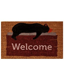 "Lazy Bear Welcome 17"" x 29"" Coir/Vinyl Doormat"