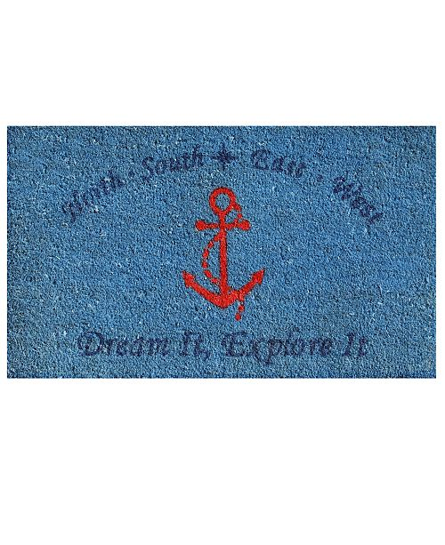 "Home & More Red Anchor 24"" x 36"" Coir/Vinyl Doormat"