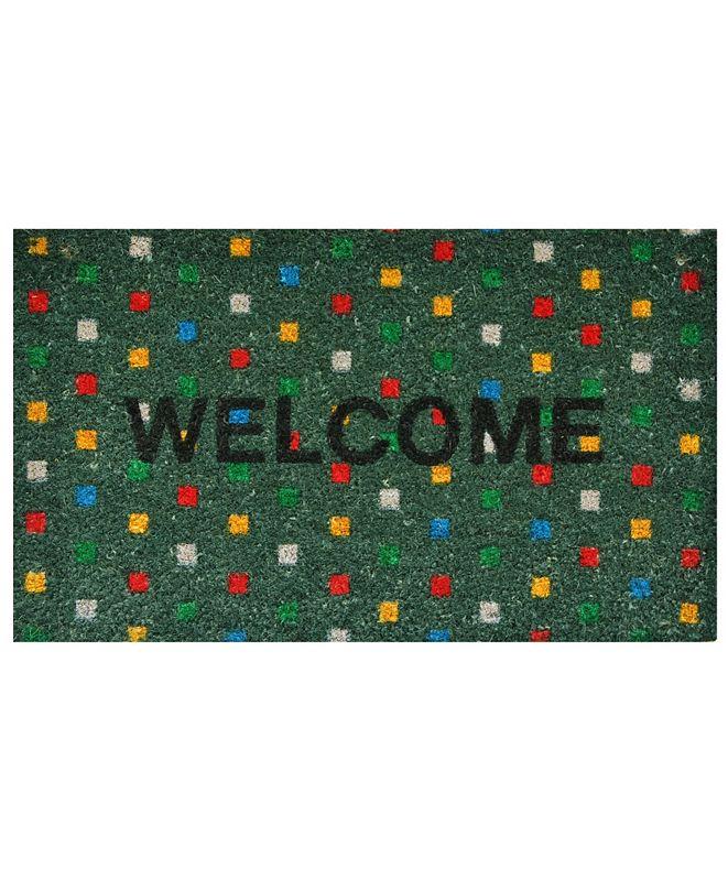"""Home & More Polka Dot Welcome 17"""" x 29"""" Coir/Vinyl Doormat"""