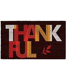 "Thankful 17"" x 29"" Coir/Vinyl Doormat"