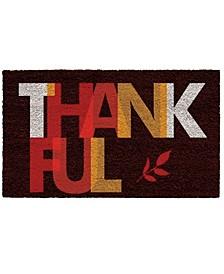 """Thankful 17"""" x 29"""" Coir/Vinyl Doormat"""