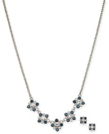 """Silver-Tone Crystal Cluster Collar Necklace & Stud Earrings Set, 17"""" + 2"""" extender, Created for Macy's"""