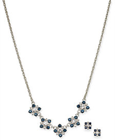 """Charter Club Silver-Tone Crystal Cluster Collar Necklace & Stud Earrings Set, 17"""" + 2"""" extender, Created for Macy's"""