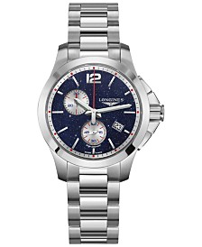 LIMITED EDITION Longines Women's Swiss Conquest Chronograph by Mikaela Shiffrin Stainless Steel Bracelet Watch 36mm