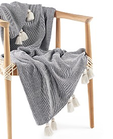 """Lucky Brand Twill Tassel Cotton 50"""" x 60"""" Throw, Created for Macy's"""