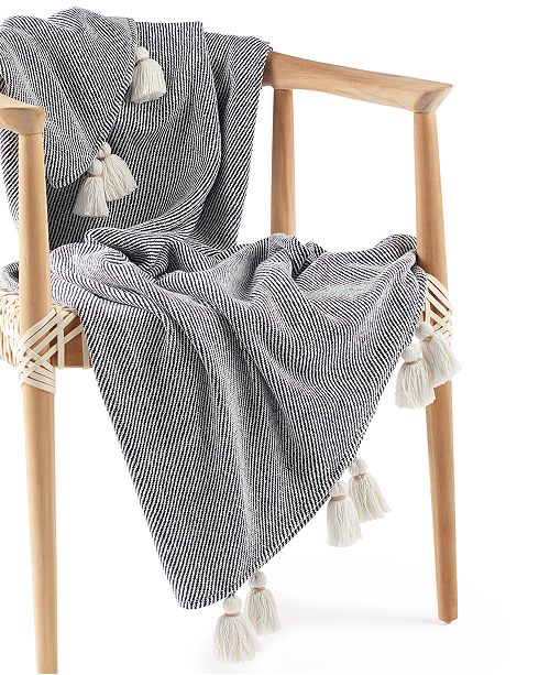 """Lucky Brand CLOSEOUT! Twill Tassel Cotton 50"""" x 60"""" Throw, Created for Macy's"""