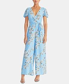 Floral-Print Faux-Wrap Jumpsuit