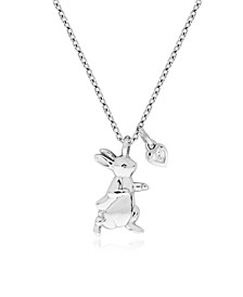 Beatrix Potter Sterling Silver Peter Rabbit Cubic Zirconia Pendant Necklace