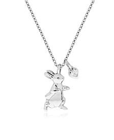 Beatrix Potter Sterling Silver Peter Rabbit Cubic Zirconia Pendant Necklace