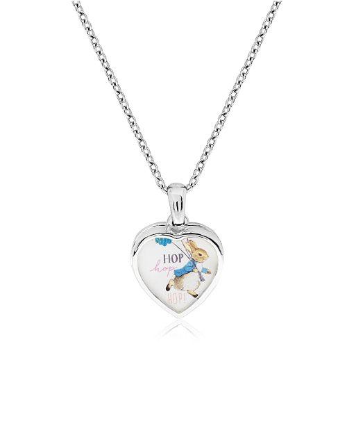 Rhona Sutton Beatrix Potter Sterling Silver Peter Rabbit Heart Locket Necklace