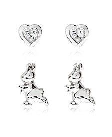 Beatrix Potter Sterling Silver Peter Rabbit Set of 2 Stud Earrings